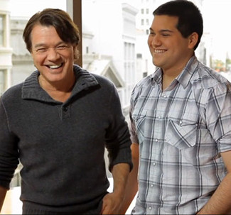 Eddie and Wolfgang Van Halen share a laugh